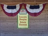 Sign on the outside of the Lincoln Douglas Debate Museum